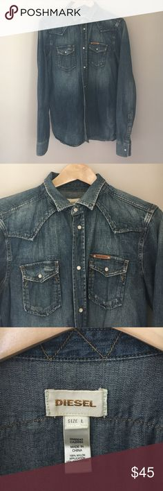 Men's Diesel denim shirt. Diesel brand long sleeves button down denim shirt. Snap button front with snap pocket closures. Some distressing. The shirt runs slim, it's a Large but I would say it's a very small large. Great condition, worn only a few times. Diesel Shirts Casual Button Down Shirts