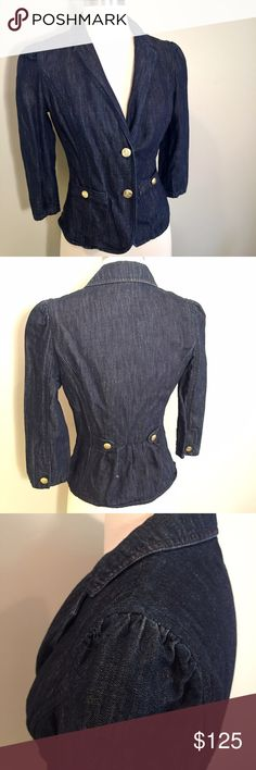 Juicy couture puff sleeve fitted denim blazer Juicy couture puff sleeve fitted denim blazer. Size P/XS. Retail $250 Juicy Couture Jackets & Coats Blazers