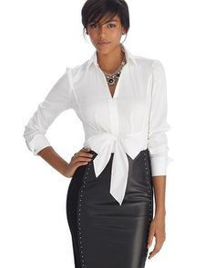 White House | Black Market Iconic Siren Tie Front White Shirt #whbm and leather pencil skirt. LOVE IT!