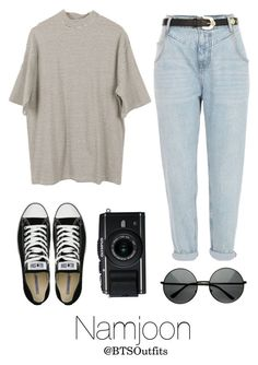 """""""Disneyland with Namjoon"""" by btsoutfits ❤ liked on Polyvore featuring River Island, MLC Eyewear and Converse"""