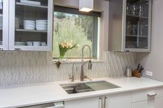 Kitchen by Statements  Shown here our Elevation Apex field tile in Oxygen