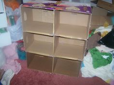 The Cardboard Crafter: dollhouse or toy shelving made from disposable-diaper boxes. Makes a nice, uniform, unit.
