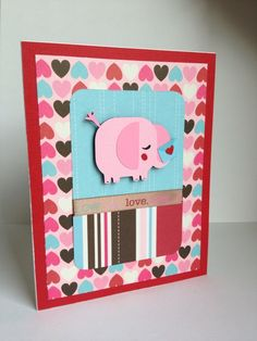 Cricut Valentine Cards | Valentine's day card. Elephant is from Cricut Paisley cartridge