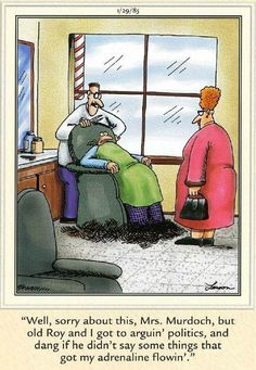 """The Far Side"" by Gary Larson. -What have we learned? NEVER discuss certain topics with individuals who are in control of your hair. Far Side Cartoons, Far Side Comics, Funny Cartoons, Funny Comics, Haha Funny, Funny Jokes, Hilarious, Lol, Funny Stuff"