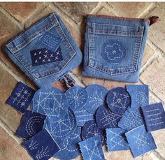 potholder/recycle/Sashiko/denim/old jeans potholder/recycle/Sashiko/denim/old jeansYou can find Jeans and more on our website.potholder/recycle/Sashiko/denim/old jeans po. Fabric Art, Fabric Crafts, Sewing Crafts, Sewing Projects, Upcycled Crafts, Embroidery Stitches, Embroidery Patterns, Hand Embroidery, Embroidery On Denim