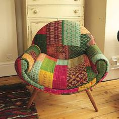 This retro style nest chair is beautiful and colourful in equal measure Made with a wood frame and a patchwork design of brightly coloured fabrics Meditation Chair, Meditation Rooms, Colorful Chairs, Cool Chairs, Retro Chairs, Retro Armchair, Velvet Armchair, Nest Chair, Patchwork Chair