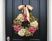 Hydrangea Wreaths, COMPLEMENTARY WREATH Hanger, Summer Wreaths,Summer Hydrangea Wreaths, Summer Decorative Wreaths