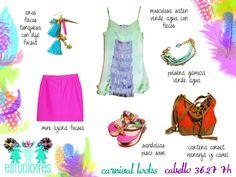 aros flecos + mini fucsia + muscu verde saten c/ flecos + pulsera gamuza + cartera corset orange + sandalias pisco.