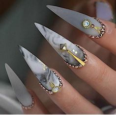 cool and trendy stiletto nail art designs; Acrylic Coffin Stiletto Nail stiletto 50 Sexy And Cool Stiletto Nail Ideas You Have To Try - Page 22 of 50 - Chic Hostess Gorgeous Nails, Love Nails, Pretty Nails, Fun Nails, Bling Stiletto Nails, Simple Stiletto Nails, Stiletto Nail Designs, Cute Acrylic Nails, Matte Nails
