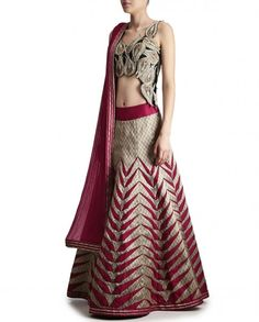 Beige and Maroon Lengha Set with Applique Work - Expressionist by Jaspreet - Designers