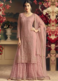 Dull Pink Designer Heavy Embroidered Net Sharara Suit - Fabric Only Designer Salwar Kameez, Pakistani Designer Suits, Indian Salwar Kameez, Indian Designer Wear, Pakistani Suits, Pakistani Dresses Party, Pakistani Fashion Party Wear, Designer Anarkali, Sharara Designs