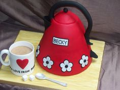 Cute red teapot cake with embroidery effect flowers ♥