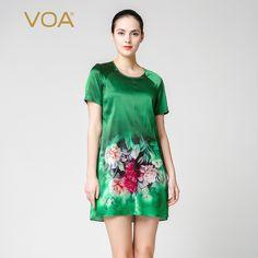 Sexy Dresses, Short Sleeve Dresses, Summer Dresses, Mini Vestidos, Green Print, Chinese Style, Shirt Dress, Blouse, Silk Satin