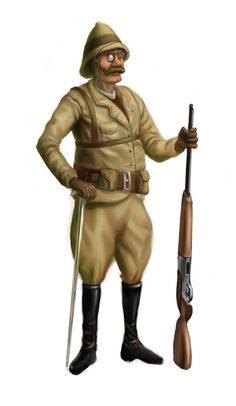 """One Safari Hunter idea (with a more """"comedy"""" style gun - so no misinterpretation can take place) Hunter Costume, Punk Genres, Call Of Cthulhu Rpg, Character Art, Character Design, Steampunk, Lucky Luke, Graphic Novels, Anime Characters"""
