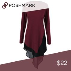 Wine Red Chiffon Asymmetrical Blouse Really cute on!! Wine Red Chiffon Asymmetrical Long Sleeve Blouse. Material is polyester and spandex B-35, W-33 Tops Blouses