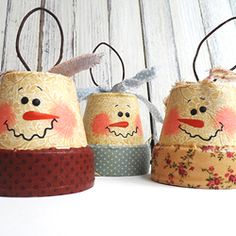 Cute snowman ornaments with a vintage feel! Made from clay pots and fabric.