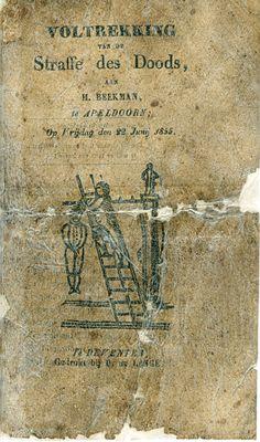 Voltrekking van de straffe des doods aan H. Beekman te Apeldoorn op vrijdag 22 juni 1855