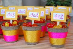 DIY wedding favors wrapped in bright floss