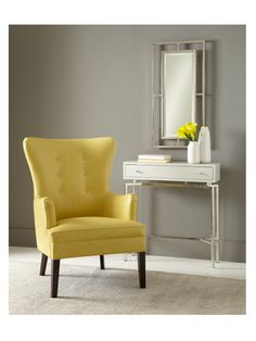 A pop of chartreuse for a spring awakening of cool neutral room: Ashby button-back modern wing in bevan-marigold leather