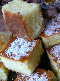 Basboosa | Middle Eastern Semolina Cake! Incredibly delicious desert! Try it and you will see how yummy it's is! Chez Aline Cuisine