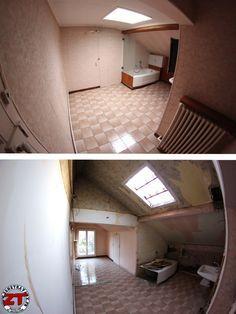 Jour 6 - Salle de bain : Suppression d'une cloison, du faux plafond et d'un conduit d'extraction d'air. Bientôt la mise en place de Velux pour apporter de la lumière