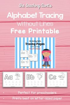 Alphabet Tracing Without Lines Free Printable - The Teaching Aunt Free Printable Alphabet Worksheets, Letter Worksheets For Preschool, Preschool Workbooks, Kindergarten Worksheets, Free Printables, Preschool Ideas, Color Activities For Toddlers, Abc Activities, Alphabet Tracing