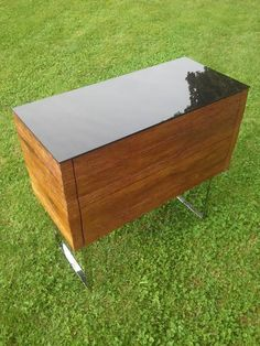 Black Glass, Solid Oak, Pedestal, Type 1, Storage Chest, Theater, Drawers, Stainless Steel, Plates