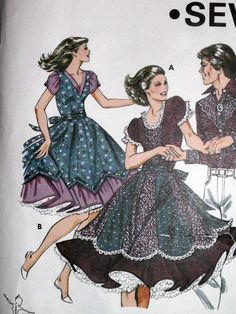 Square Dance Dress Pattern 6 8 10 12 Kwik Sew #1159 UNCUT Vintage 1980's Western #KWIKSEW #SquareDanceCostume