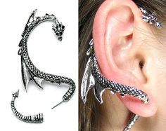 Dragon Ear Cuff Cool Dragon Ear Wrap Silver Dragon Ear Cuff Jewelry Unique Silver Dragon Ear Wrap for Men and Women Silver Phantom Jewelry Drachenohr Manschette Wrap – Game of Thrones inspiriert Drachenohrring, Drachen Schmuck Cute Jewelry, Silver Jewelry, Jewelry Accessories, Unique Jewelry, Silver Ring, Western Jewelry, Hippie Jewelry, Inexpensive Jewelry, Gothic Jewelry