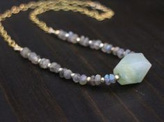 Labradorite Necklace Gold Labradorite Pyrite and by JemaHartJewels