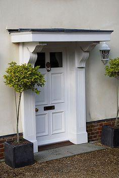 Simple porch Door Canopy Georgian, Georgian Doors, Georgian House, Porch Roof Design, Exterior Door Colors, Exterior Decoration, External Front Doors, Door Overhang, House Front Door