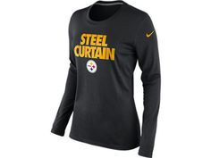 Nike Pittsburgh Steelers Ladies Steel Curtain Long Sleeve T- Shirt NWT M, L & XL in Clothing, Shoes & Accessories, Women's Clothing, T-Shirts | eBay