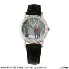 Brown Horse in a Winter Forest with Snow Falling Watch Classic Leather, Black Leather, Brown Horse, Watch Faces, Personal Style, Quartz, Snow, Horses, Watches