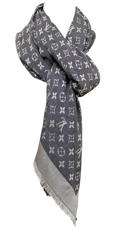Louis Vuitton Denim Blue Monogram White Scarf Shawl Silk Wool Fringe Detail   #LouisVuitton #fashion #style #consign #thrift