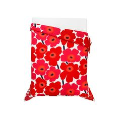 Marimekko Unikko Red Bedding Wake up to the cheery poppies of the famous Marimekko Unikko pattern. Maija Isola designed the bold blossoms in 1964 yet the pattern still resonates with the world half a century later. In the original. Red Comforter, Linen Bedding, Bed Linen, Bedding Sets, Bedspread, King Duvet, Queen Duvet, Red Duvet Cover, Duvet Covers