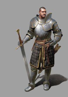 Hombre en armadura por  Un Lee
