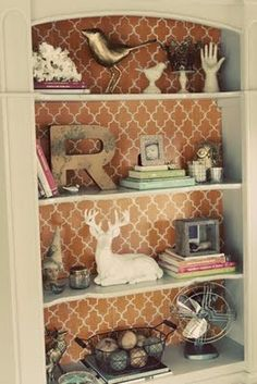 Put foam board with wallpaper on back of bookshelf - change out when you want something different. @Suzy Sissons Sissons Sissons Mitchell Fellow Dalgliesh (Fellow Fellow) Dalgliesh (Fellow Fellow) Dalgliesh (Fellow Fellow) Dalgliesh (Fellow Fellow) Young