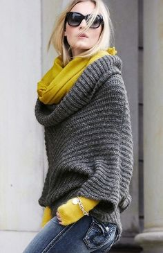 Cable knit Poncho, Sweater, Infinity Scarf, Jeans | Yellow + Grey Fall Wear | H&M