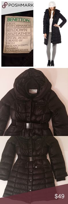 """Winter midi puffer coat Very warm winter puffer, purchased& worn last year in NYC for about 3 weeks,don't need it in NC. European sizing -40, fits like S. Zipper& snap buttons, roomy hoodie/ not removable. Length from shoulder to bottom about 34"""". United Colors Of Benetton Jackets & Coats Puffers"""