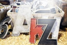 We suggest using these oversize vintage letters at the Outdated booth to spell out any message you'd like in your garden.   - CountryLiving.com