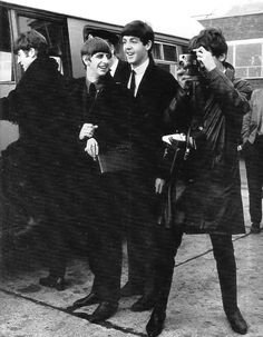 The Beatles photographed at London Airport en route to Stockholm, Sweden on the 23rd October 1963.