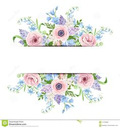 Blue And Purple Flowers, Lilac Flowers, Pink Blue, Cute Frames, Clip Art, Wallpaper Decor, Floral Border, Border Design, White Roses