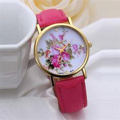 Watch Women Clock Fashion Flower Dial Leather Band Quartz Analog Wrist Watches Reloj Mujer Popular Hot Sale Leisurely Gift C/4