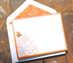 Handmade Notecards Personalized Stationery with coral by BeeNoteIt