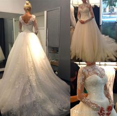 Wholesale Ball Gown Wedding Dresses - Buy 2014 Sexy Long Sleeve Ball Gown Wedding Dresses High Neck Backless Lace Applique Cathedral Train Beaded Sheer Bridal Gowns Church Wedding, $143.27 | DHgate