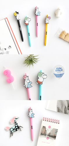Moo Mins candy colour cute kawaii kitsch gel pens black or blue ink