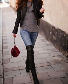 Old Band T Shirt and Leather Jacket