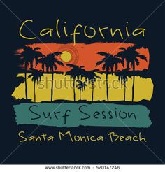 Vector illustration on the theme of surf and surfing in California, Santa Monica beach.  Typography, t-shirt graphics, print, poster, banner, flyer, postcard