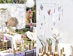 This outdoor bash would not have been complete without the arrow mobile and gold wine glass vases