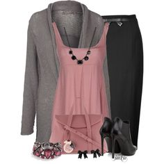 Cardigan, Skirt and Ankle Boots, created by jackie22 on Polyvore
